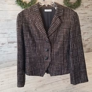 Coldwater Creek Brown Gold Tweed Button Jacket